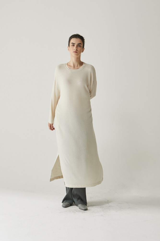 Natural lounge long dress in Cream