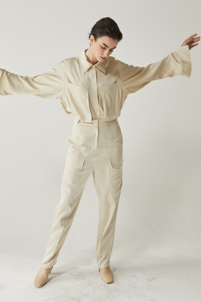 Satin cargo pants in Beige
