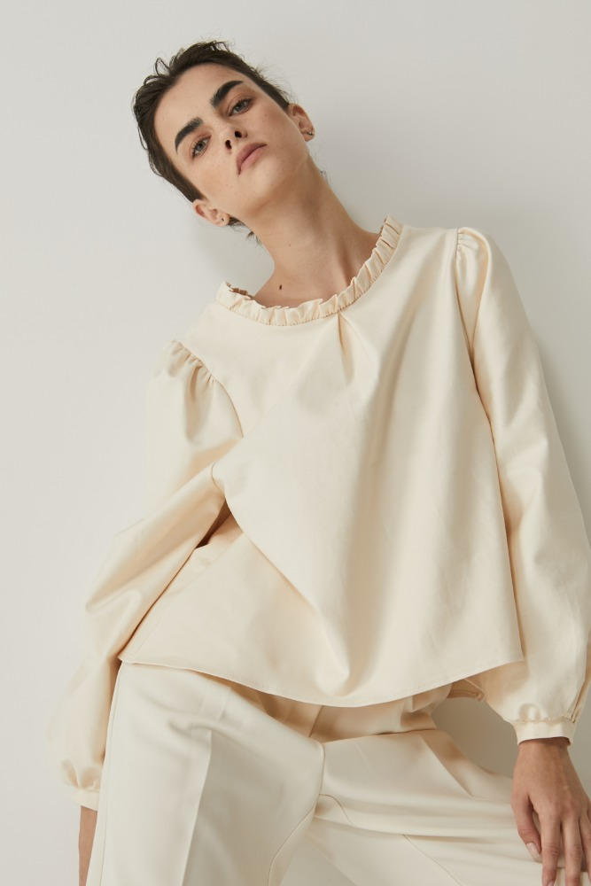 Shirring neck blouse in Cream